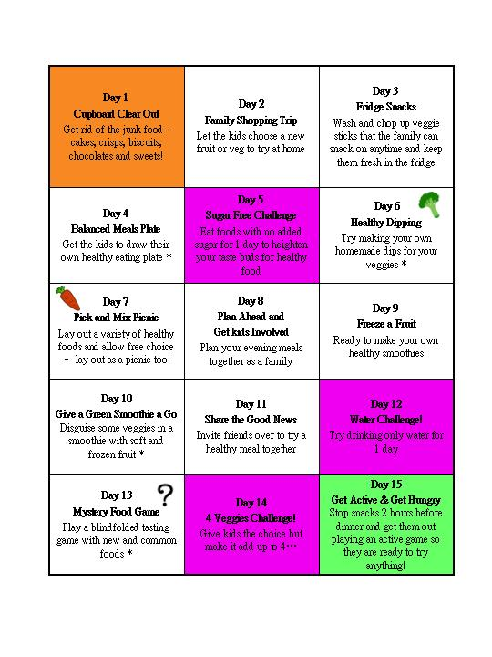 Pick Eaters 15-Day Challenge Grid
