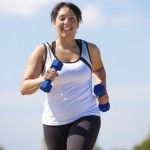Larger lady run with weights